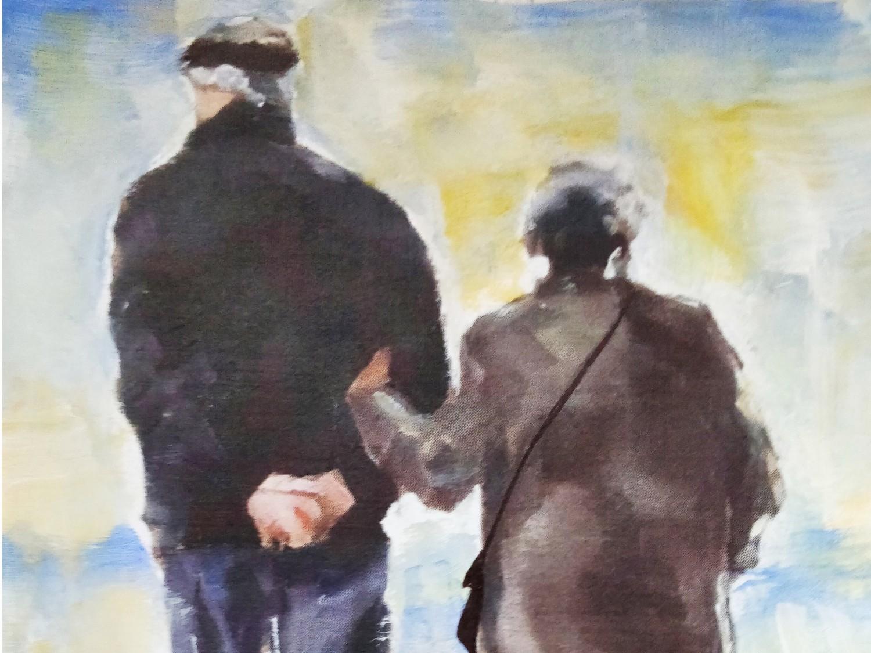 Maalaus, jossa iäkäs pariskunta kävelee toinen toistaan tukien.