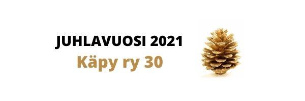 Kullan värinen käpy ja teksti: juhlavuosi 2021, Käpy ry 30 vuotta