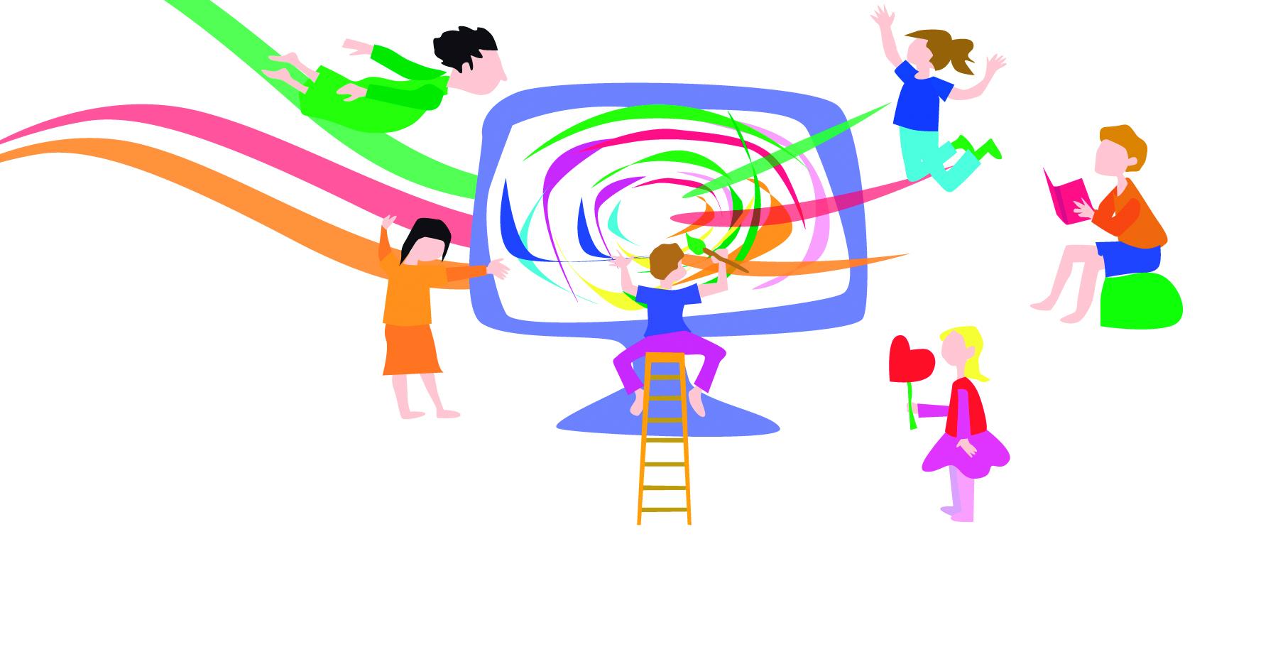 piirroskuva lapsista tietokoneen ääressä